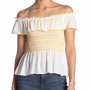 NWOT - Ruffle Strapless/ Off-The-Shoulder Top